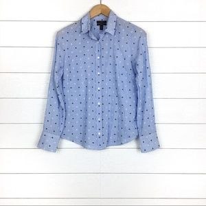 J.Crew Embroidered Dot Perfect Shirt Blue